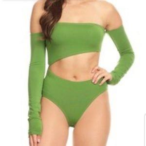 Off Shoulder Long Sleeve Exposed Midriff Bodysuit